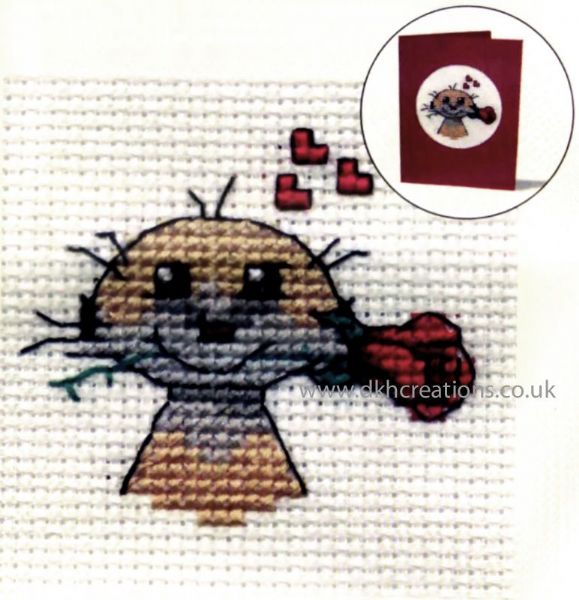 Meerkat With Roses Card Cross Stitch Kit